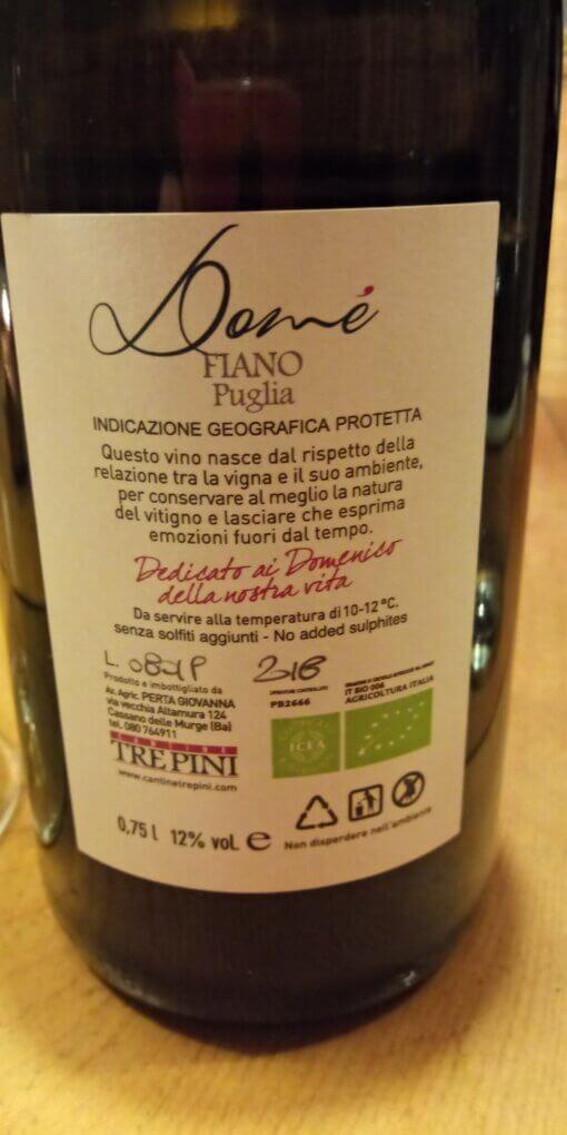 Fiano Dome Tre Pini zonder toegevoegd sulfiet